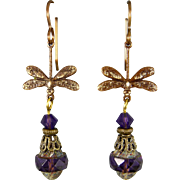 Dragonfly Purple Czech Glass Earrings