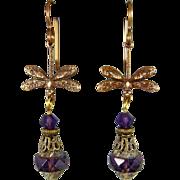 Dragonfly Purple Czech Glass Earrings