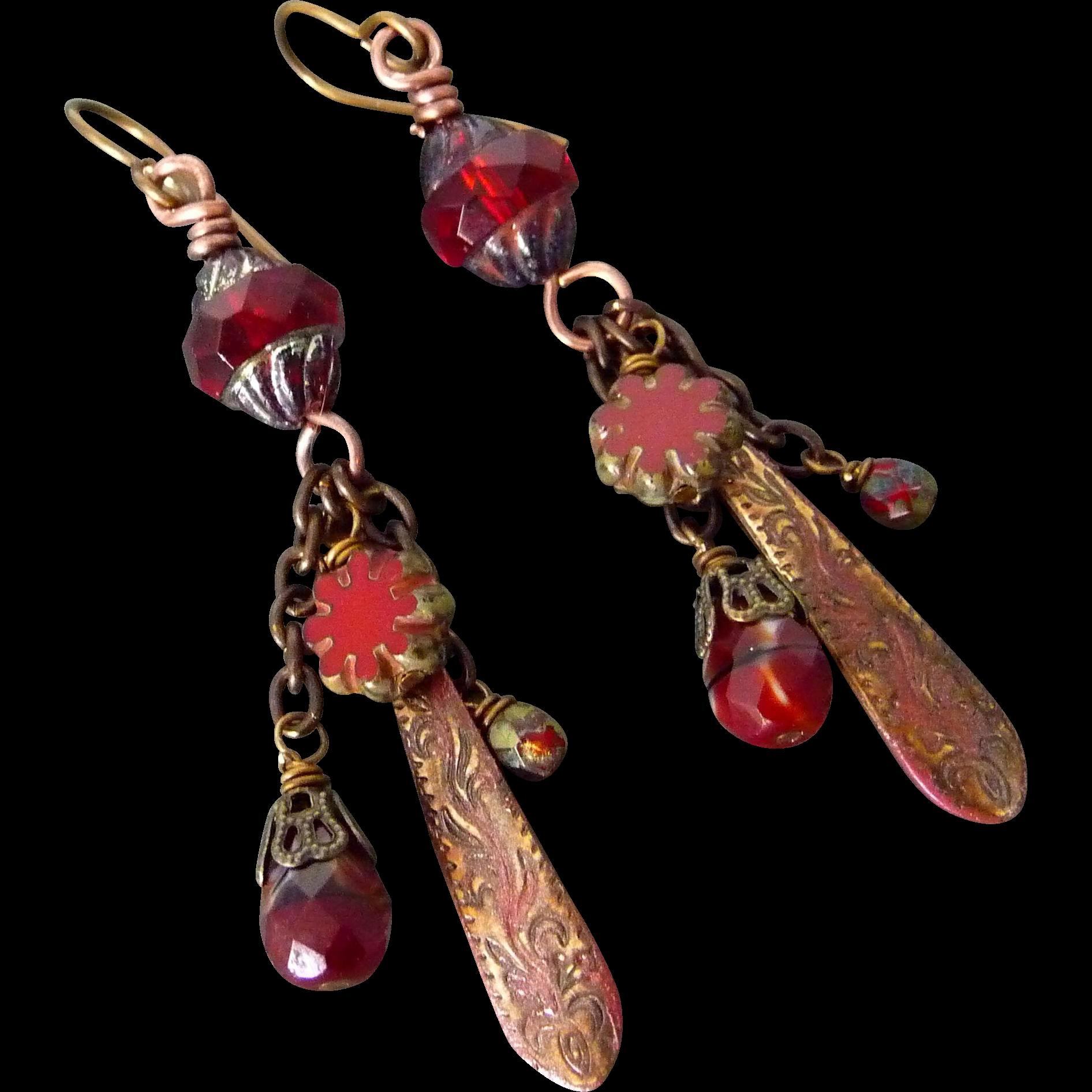 Boho Red Patina Red Czech Glass Earrings