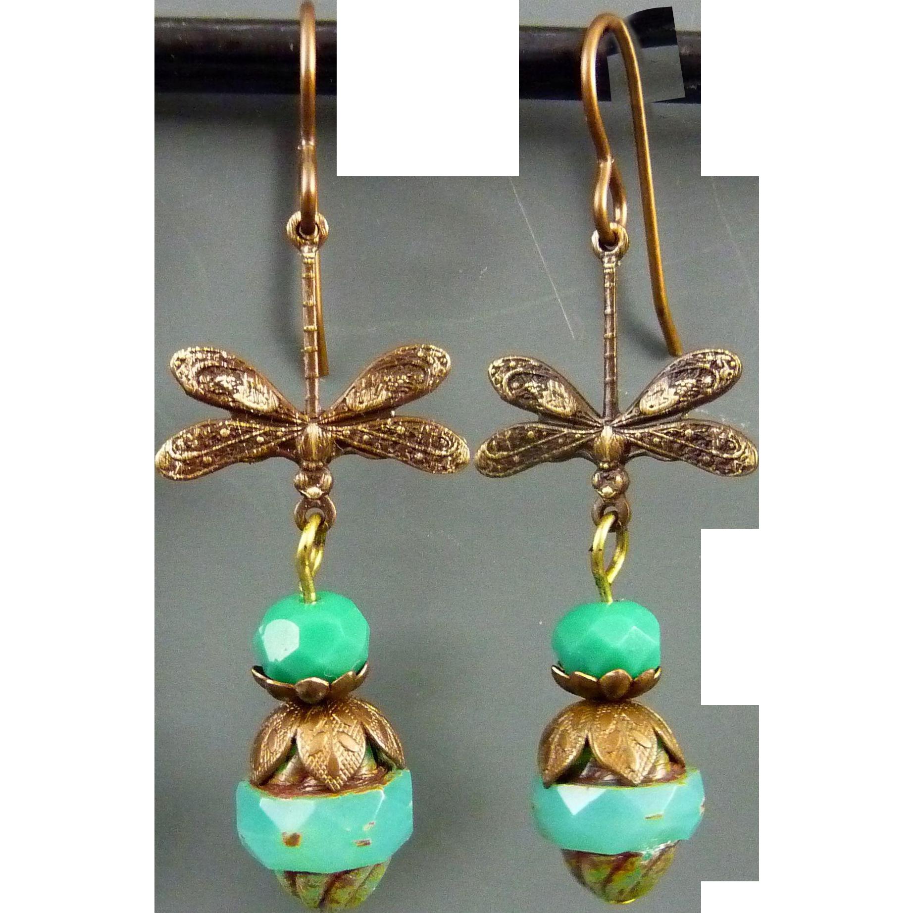 Dragonfly Czech Glass Earrings