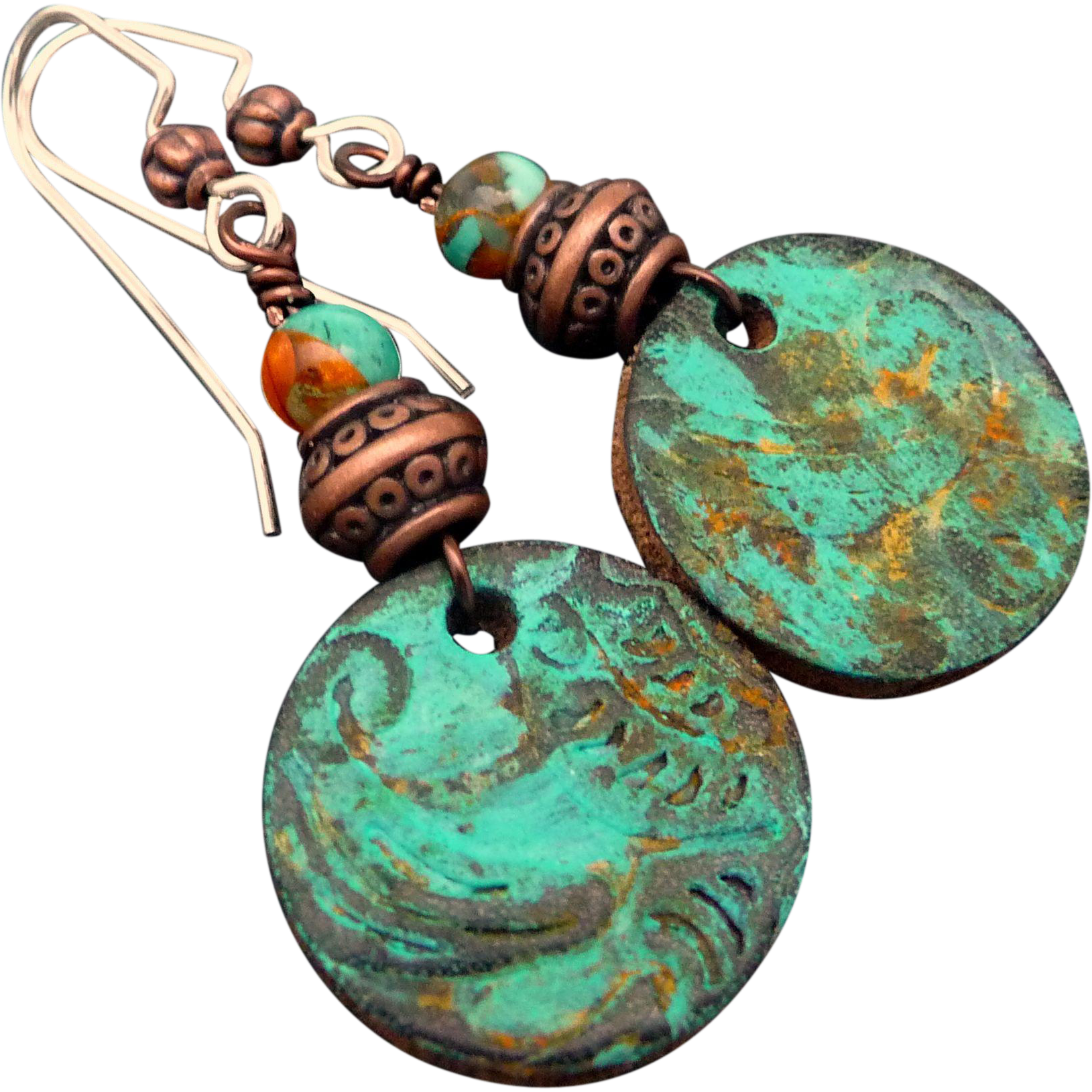 Boho Leather Patina Earrings