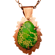 Green Imperial Jasper Copper Pendant