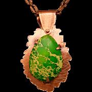 Green Imperial Jasper Copper Pendant