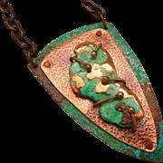 Sculptured Copper Pendant Necklace