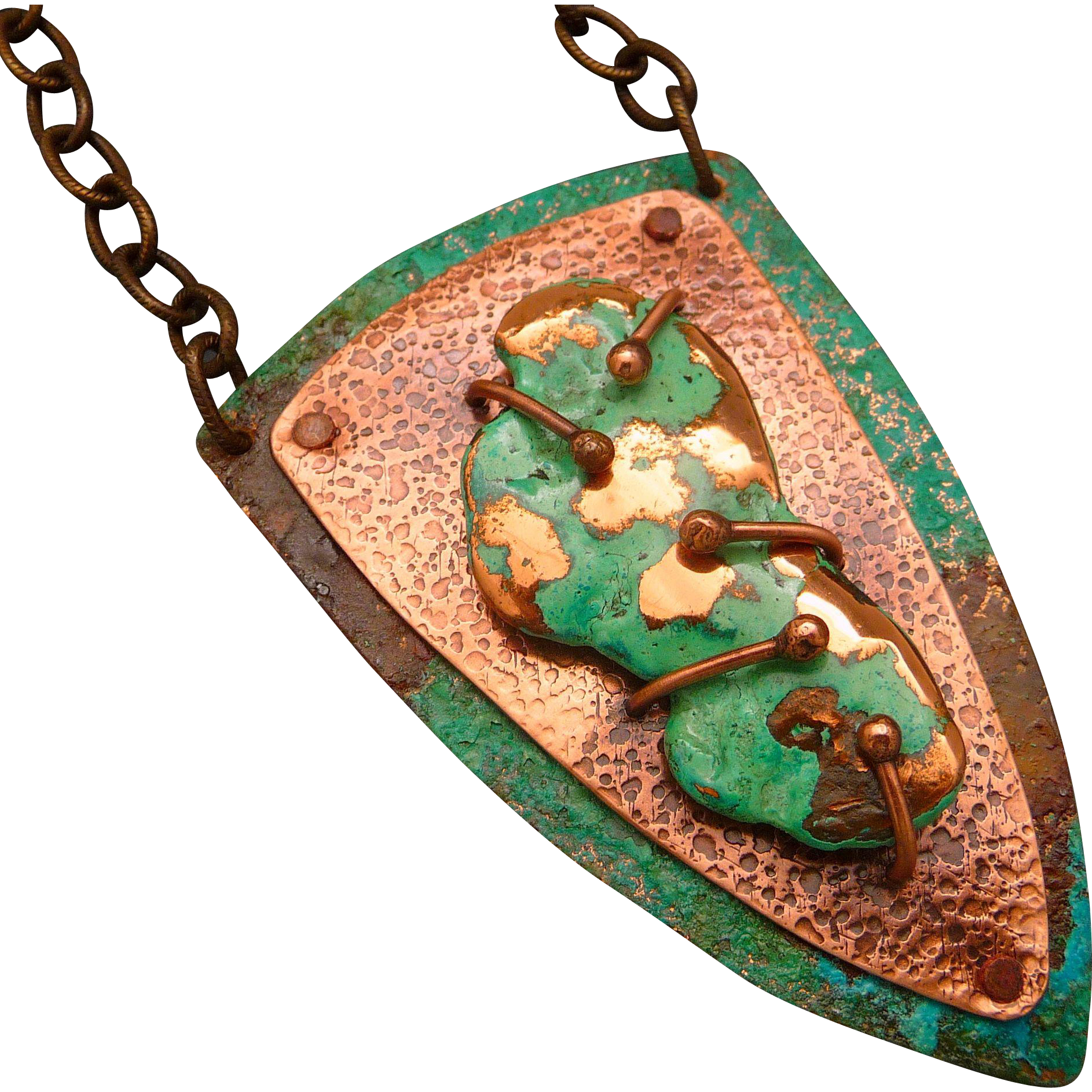 Sculptured Copper Pendant Necklace
