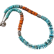 Southwestern Turquoise And Spiny Oyster Sterling Silver Necklace