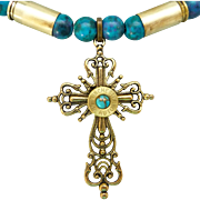 Blue Howlite Shell Casing Necklace With Brass Cross And Turquoise Cabochon