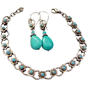 Vintage Upcycled Turquoise Bracelet And Earring Set