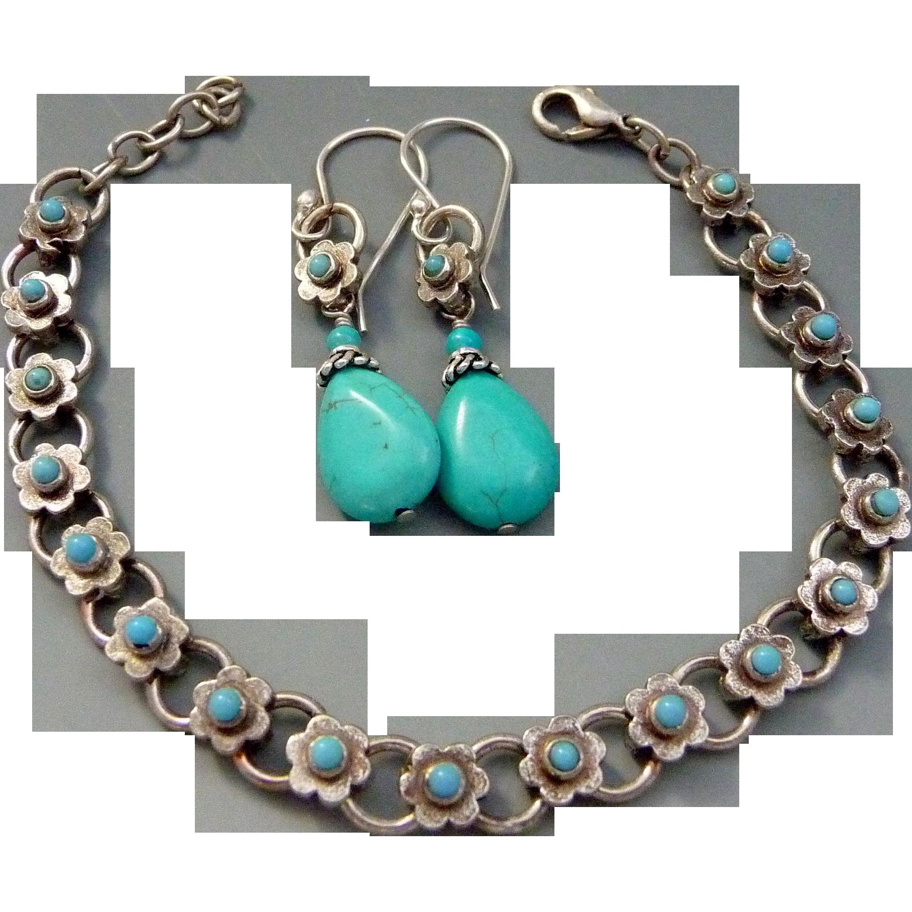Vintage Upcycled Turquoise Bracelet And Earring Set
