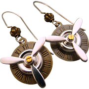 Time Flies Mixed Metal Propeller Steampunk Earrings