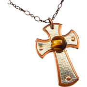 Copper And Silver Cross Pendant With Tiger Eye Cabochon