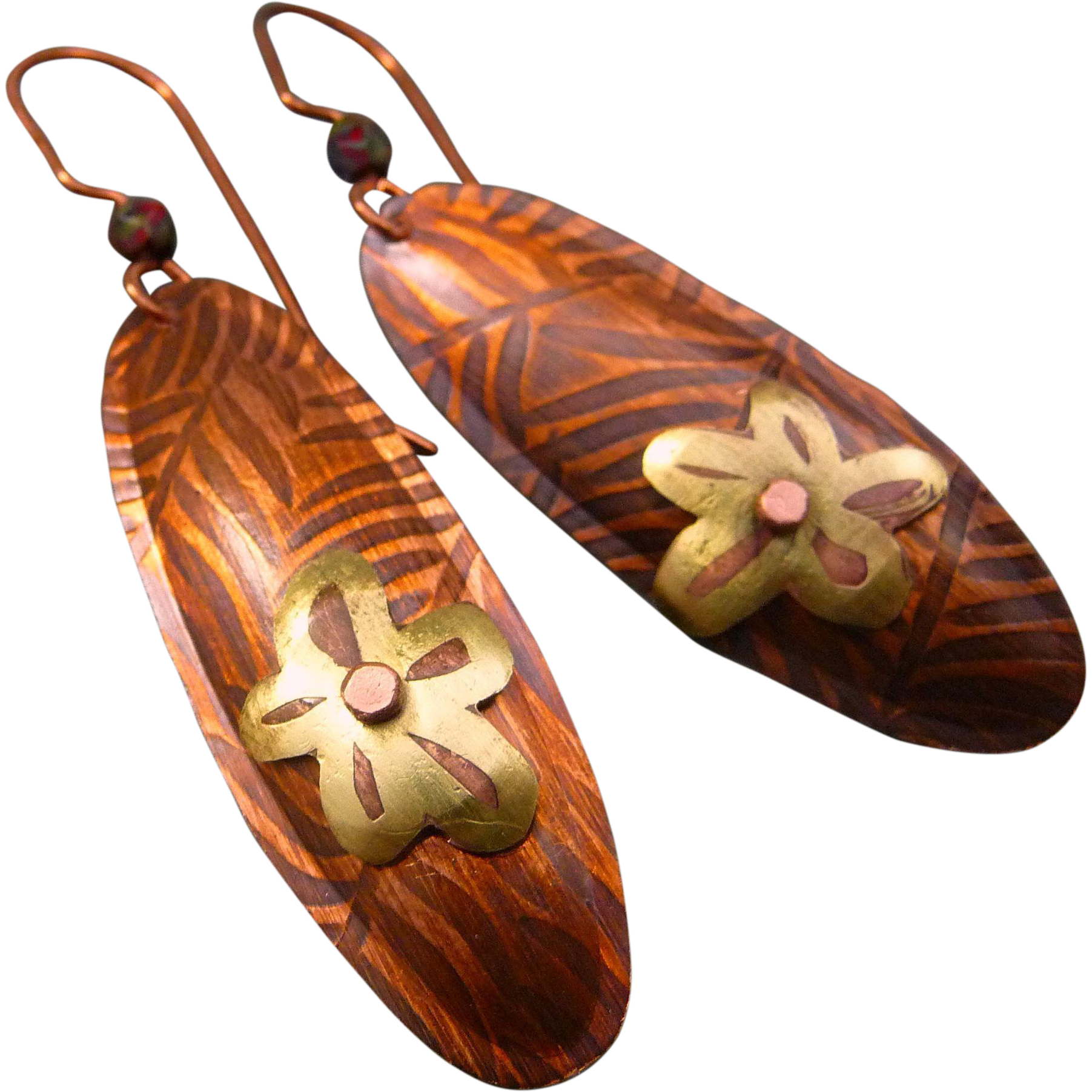 Copper And Brass Flower Texture Earrings