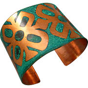 Copper Etched Patina Cuff Bracelet