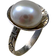 Freshwater Pearl Sterling Silver Pinky Ring Size 4.5