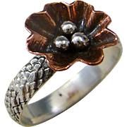 Copper And Sterling Silver Flower Ring Size 7.5