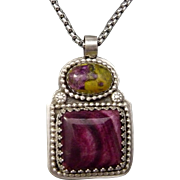 Purple Spiny Oyster And Stichtite Sterling Silver Pendant Necklace
