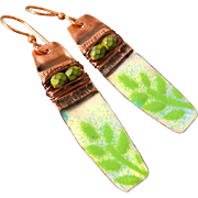 Copper Fold Formed Enamel Leaf Earrings