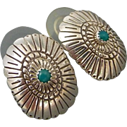 Turquoise Concho Sterling Silver Post Earrings