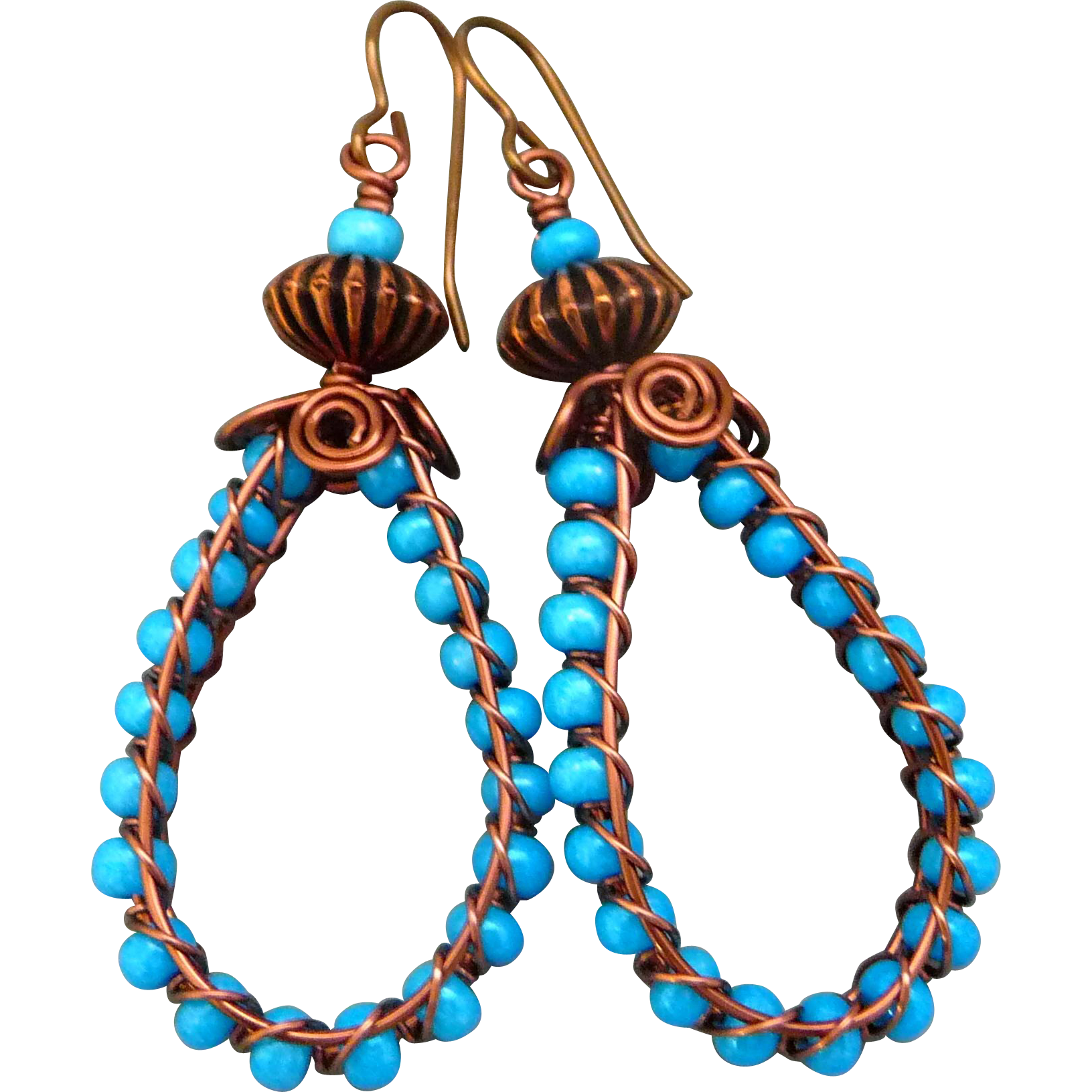 Woven Hoop Copper Earrings