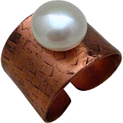 Copper And Freshwater Pearl Adjustable Ring