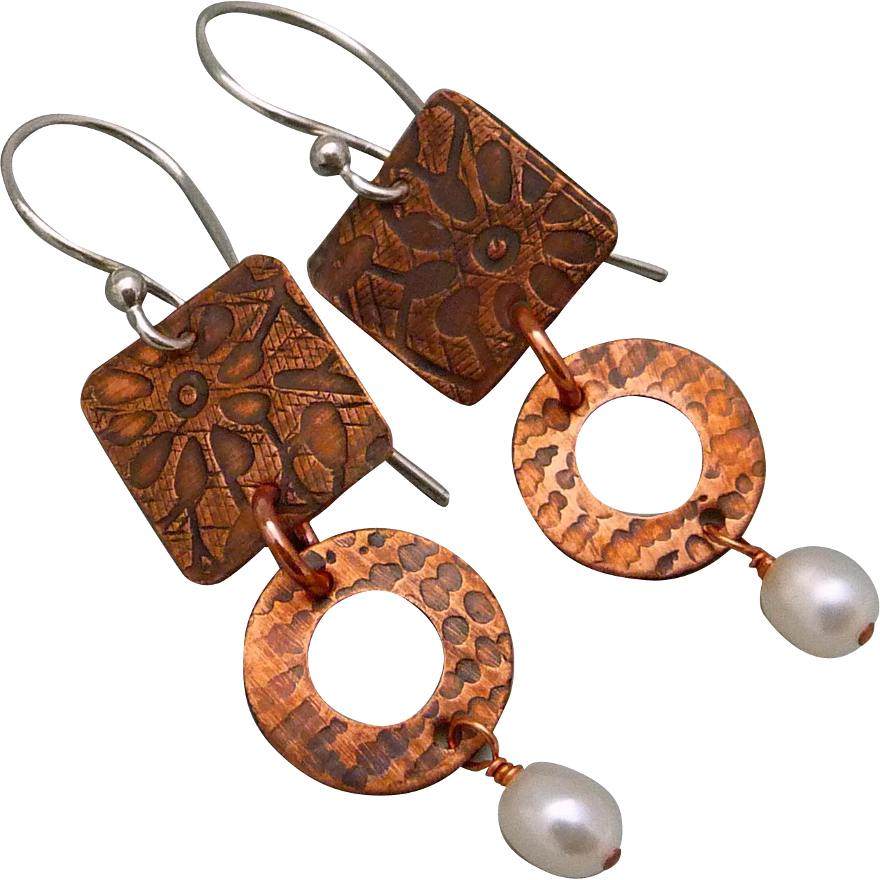 Textured Copper Pearl Earrings