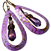 Purple Textured Teardrop Earrings