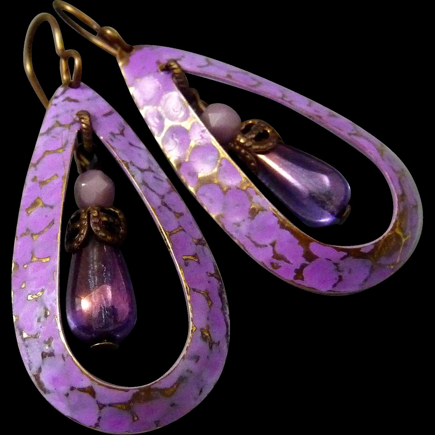 Purple Textured Teardrop Earrings