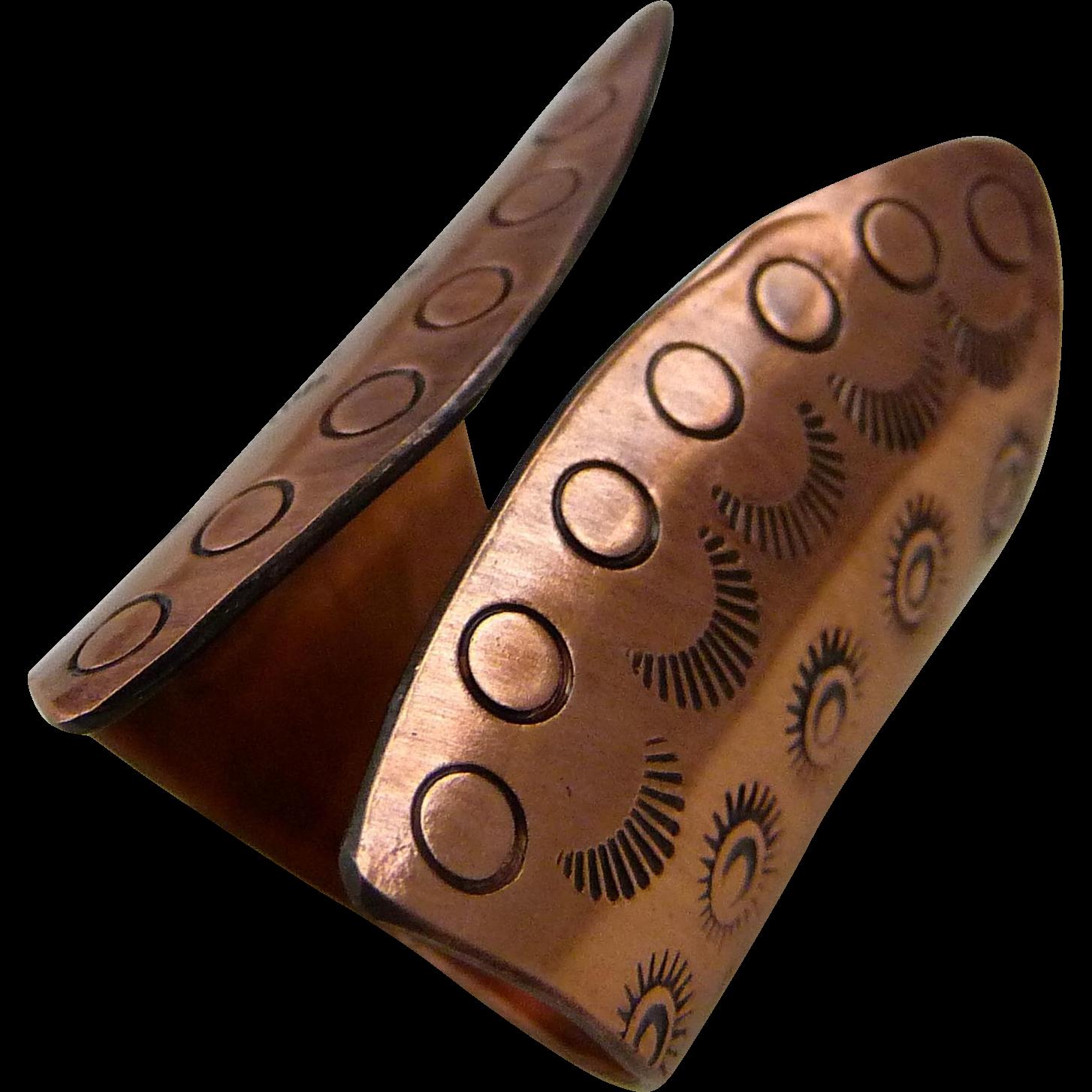 Stamped Copper Adjustable Ring
