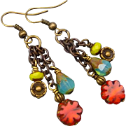 Colorful Boho style dangle earrings