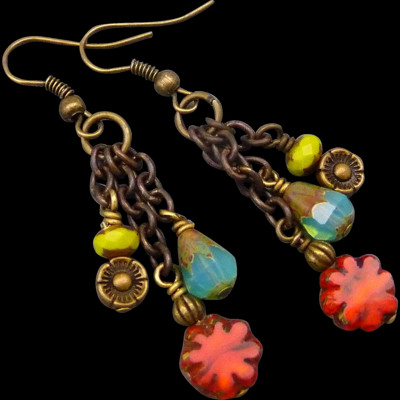 Colorful Boho style dangle earrings