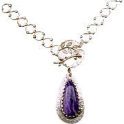 Charoite Sterling Silver Pendant Necklace