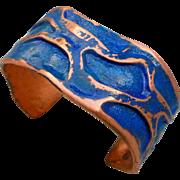 Patina Copper Chasing Repousse Cuff Bracelet