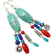 Silver Concho Dangle Earrings