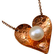 Copper Heart And Freshwater Pearl Necklace