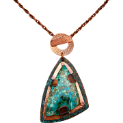Shattuckite Copper Pendant Necklace With Front Closure