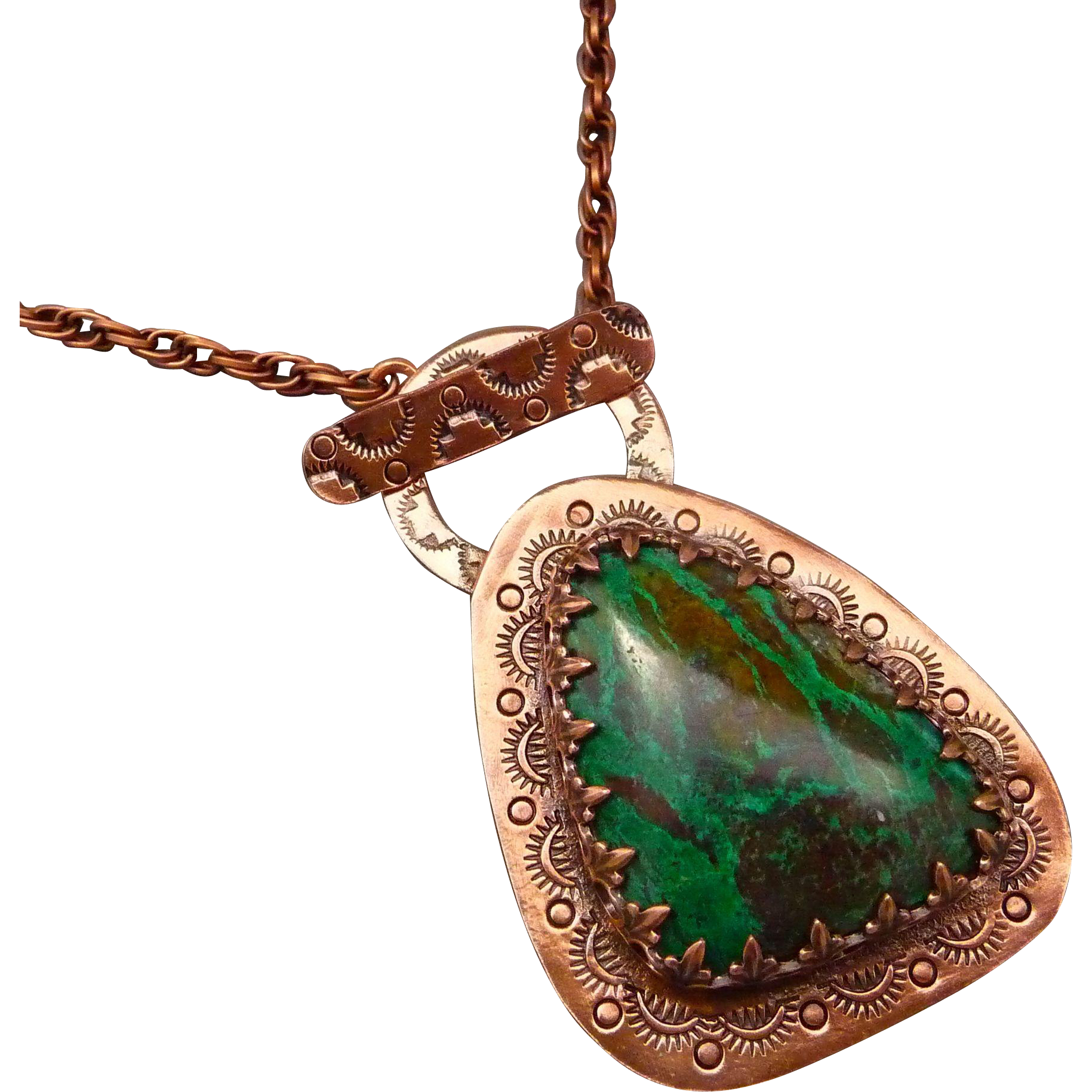 Chrysocolla Hand Stamped Copper Pendant Necklace