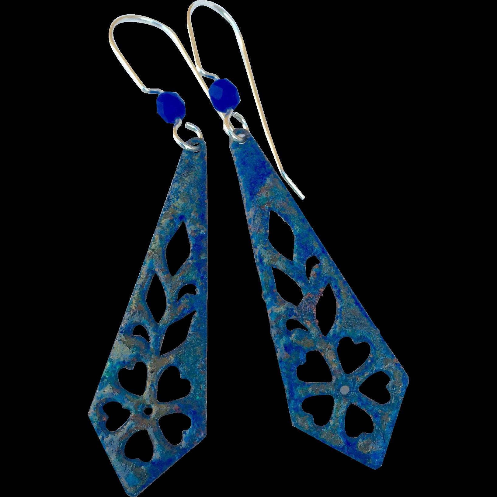 Organic Blue Patina Earrings