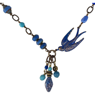 Asymmetrical Blue Bird Necklace