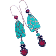 Embossed Turquoise Dangle Earrings