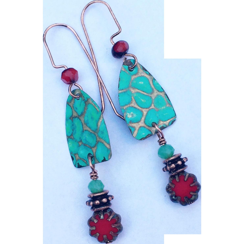 Embossed Turquoise Dangle Earrings
