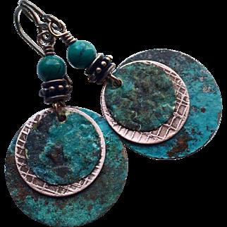 Copper Patina Disc Earrings