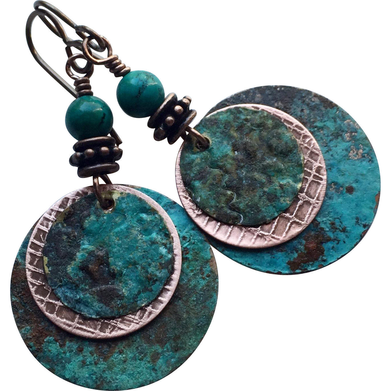 Copper Patina Disc Earrings