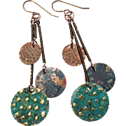 Tri-Disc Mixed Metal Patina Tribal Earrings