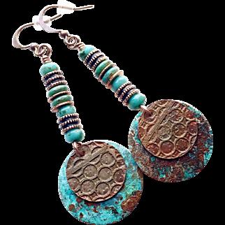 Rustic Patina Disc Earrings