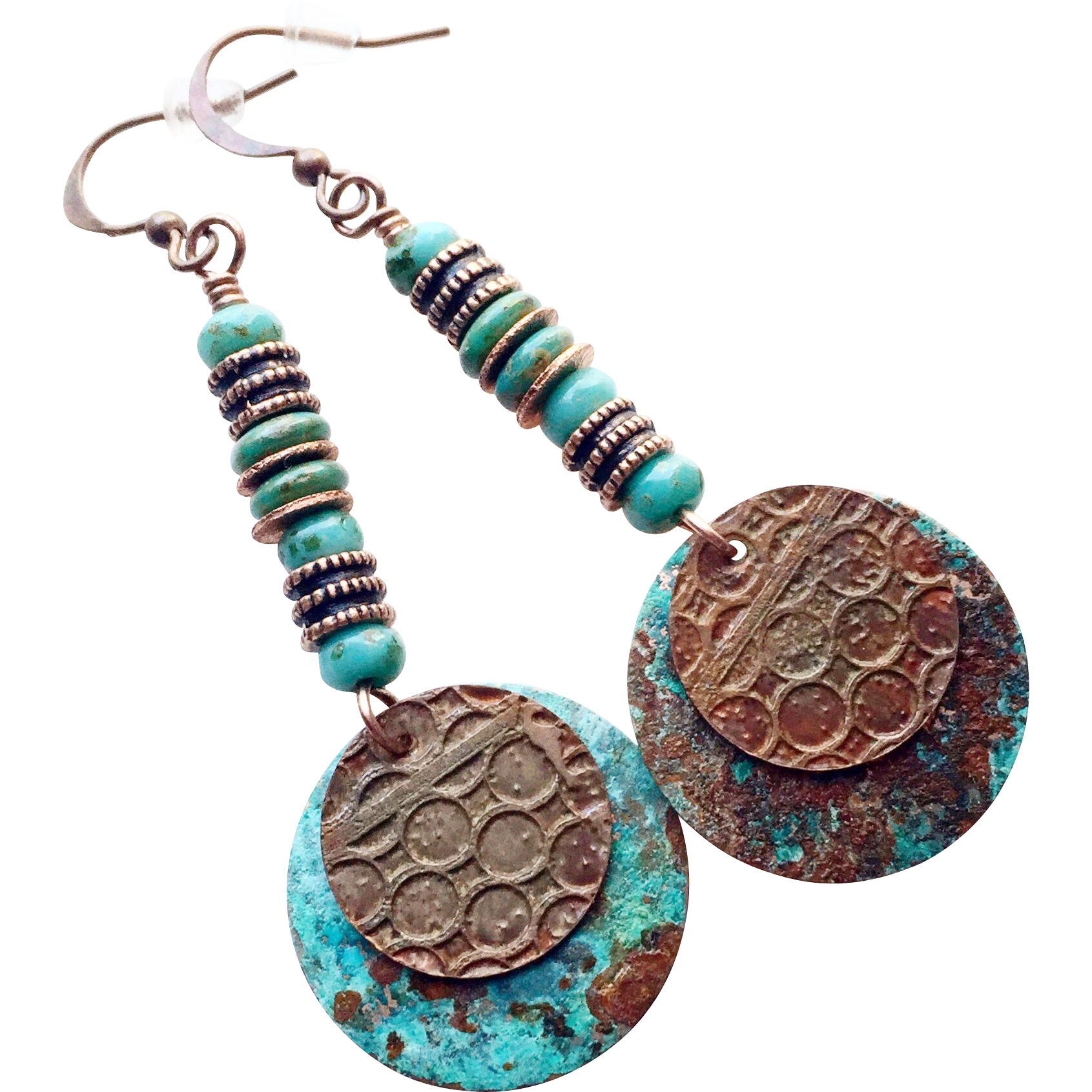 Rustic Patina Disc Earrings