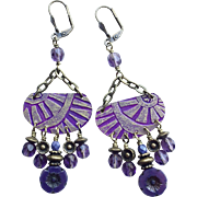 Etched Purple Bohemian Chandelier Earrings