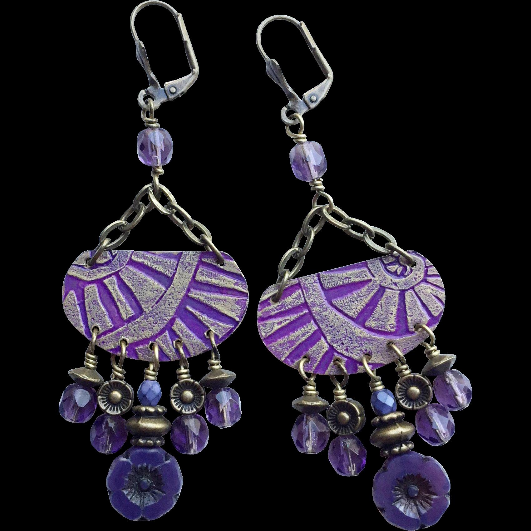 Etched Purple Bohemian Chandelier Earrings