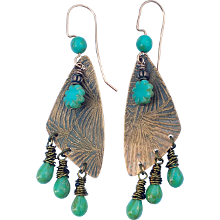 Rustic Copper Bohemian Earrings With Turquoise Czech Glass Beads