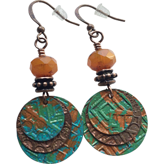 Copper Patina Layered Disc Earrings