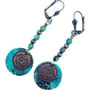 Verdigris Patina Czech Glass Earrings